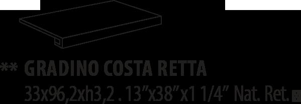 K60R01A GRADINO COSTA RETTA BONE NAT RETT 33×96,2