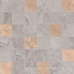 Декорированная мозаика на сетке PF6264 ALPES RAW MOS.QUADR.GLAM GREY 30X30
