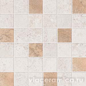 Декорированная мозаика на сетке PF6263 ALPES RAW MOS.QUADR.GLAM IVORY 30X30