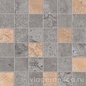 Декорированная мозаика на сетке PF6265 ALPES RAW MOS.QUADR.GLAM LEAD 30X30