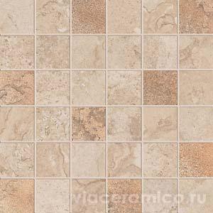 Декорированная мозаика на сетке PF6266 ALPES RAW MOS.QUADR.GLAM SAND 30X30