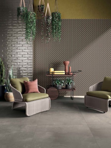ABK LAB325 BASE TAUPE 80X80 + WIDE&STYLE LIBERTY LIME 120X240 + CROSSROAD BRICK SMOKE 7,5X30